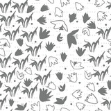 Vector floral seamless pattern with hand drawn scilla or snowdrop flowers and leaves. Modern decorative background in pastel colors.