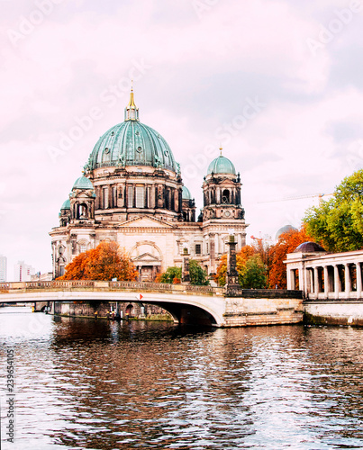 Berliner Dom (Berlin cathedral) over Spree river at sunset