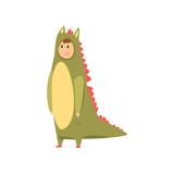 Man wearing dinosaur animal costume, person in jumpsuit or kigurumi vector Illustration on a white background © topvectors