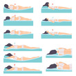 Woman lying in various poses set, side view, correct and incorrect sleeping posture for neck and spine, healthy sleeping position, orthopedic mattresses and pillows vector Illustration