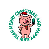 PIG IN SANTA HAT WITH CHRISTMAS TREE BADGE WHITE BACKGROUND