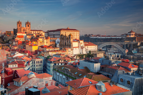 Porto, Portugal. Aerial cityscape image of Porto, Portugal with the Porto Cathedral and old town during sunset. © rudi1976