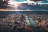 Aerial view of Seine river in Paris