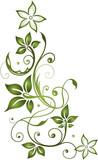 Florale filigrane Ranke mit Blättern und Blüten. Herbstranke mit Schnörkeln. Grün.