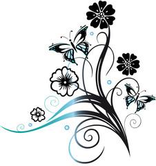 Florale und filigrane Ranke mit Blumen, Kugeln und Schmetterlingen. Fantasy Style. Black and blue.