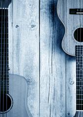 ukuleles on table living background,blue image © MIGUEL GARCIA SAAVED