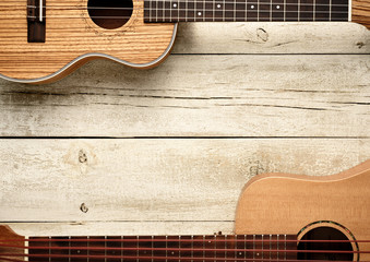 ukuleles on table living background © MIGUEL GARCIA SAAVED