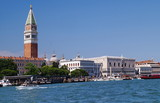View of Venice from Grand Canal with bell tower of San Marco, Italy