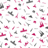 Icons of most popular world monuments. Colored seamless pattern