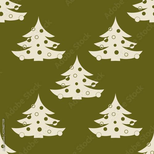 obraz lub plakat Christmas tree with toys seamless pattern