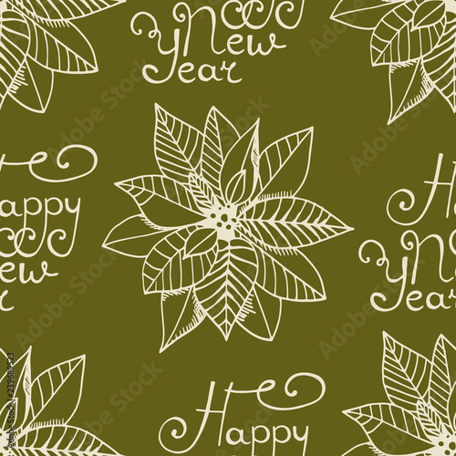 obraz PCV Christmas seamless pattern handwritten happy new year poinsettia, Euphorbia beautiful