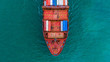 Leinwanddruck Bild - Container ship carrying container for import and export, Aerial view business logistic and freight transportation by ship in open sea.