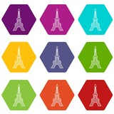 Eiffel tower icons 9 set coloful isolated on white for web