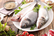 raw fish with ingredient