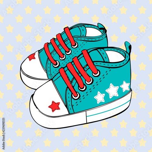obraz lub plakat vector children's sport shoes baby boy or baby girl