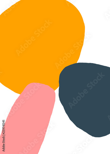 Abstract Art Background with Pink, Yellow and Navy - 239741341