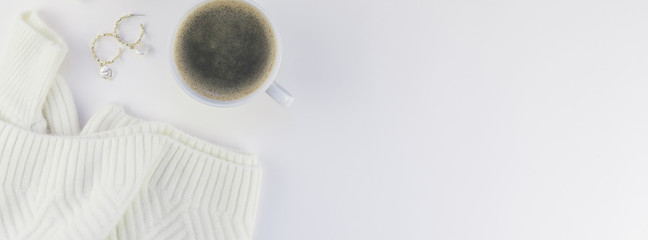 Cozy white warm sweater and Coffee Cup Autumn mood © dvoevnore