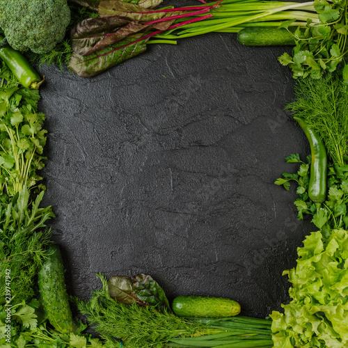 Frame of vegetables  on black background - 239747942
