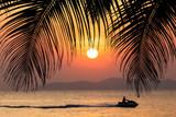 Summer tropical background. Sunset at the Ocean © EwaStudio