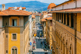 Streets and renaissance architecture of the historical center of Florence, Italy