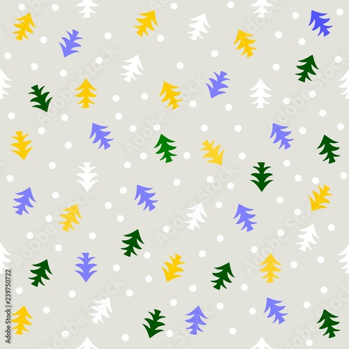obraz PCV Seamless pattern pine trees colored on gray background vector