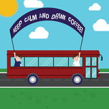 Text sign showing Keep Calm And Drink Coffee. Conceptual photo A hot beverage always makes you be inspired Two Kids Inside School Bus Holding Out Banner with Stick on a Day Trip