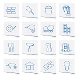ski and snowboard icons on a piece of paper - vector icon set