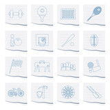 Sports gear and tools icons on a piece of paper - vector icon set
