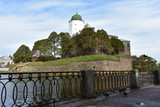 Embankment and Vyborg castle. Russia