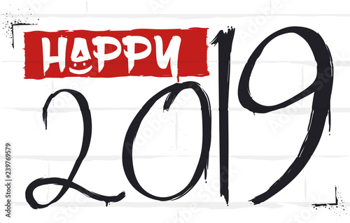 Greeting Graffiti for the Upcoming New Year 2019, Vector Illustration
