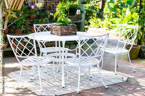 White cast iron chairs, table in outdoor, outside sitting area, garden, patio, porch, many potted flowers, pots, orchid flower wooden pot, green plants in sunny summer, Key West, Florida tropical city