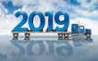 Giant Blue Numbers 2019 On A Flatbed Truck - 3D Illustration
