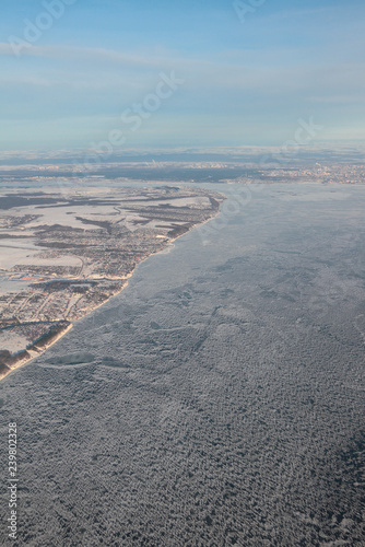 Aerial photograph, Volga River under ice. Kazan, Russia - 239802328
