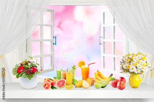 fresh fruit juices on window at summer day background. Healthy food - 239812763
