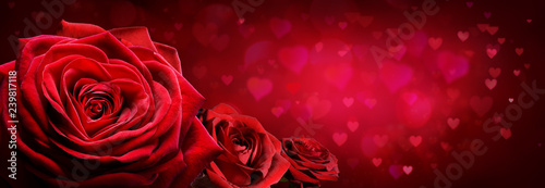 Red Roses In Heart Shape With Red Passion Background