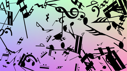 Disco Background. Black Musical Notes Symbol Falling on Hologram Background. Many Random Falling Notes, Bass and, G Clef. Disco Vector Template with Musical Symbols.