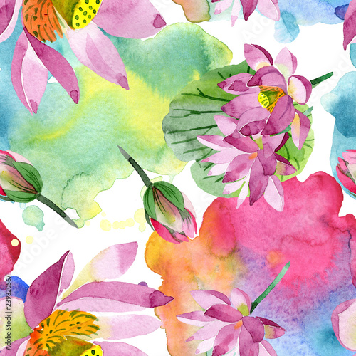 Purple Lotus Floral Botanical Flower Watercolor Background