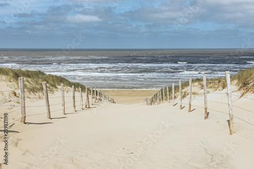 Leinwandbild Motiv Weg durch die Dünen zum Strand von Zandvoort, Niederlande