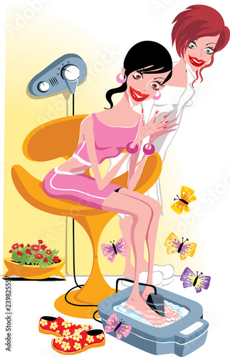 Leinwanddruck Bild Woman doing pedicure and getting pampered   in beauty salon
