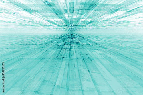 abstract futuristic background, crystals in perspective