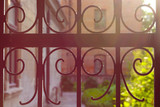 Fragment of an old wrought iron lattice gate (fence) at sunset (backlight)