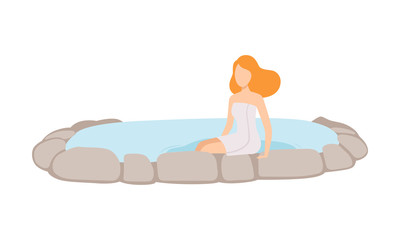 Young woman in a towel enjoying outdoor thermal spring, spa procedure vector Illustration on a white background © topvectors