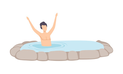 Man relaxing in outdoor thermal spring, guy enjoying hot water in bath tub, spa procedure vector Illustration on a white background © topvectors