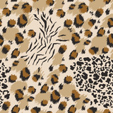 Leopard seamless pattern. Tiger skin print. Animal background. Vector illustration - 239827947