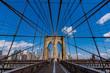 View of historic Brooklyn Bridge in New York City