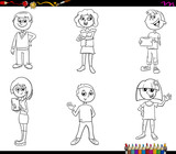children or teen characters set coloring book