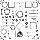 Vintage set of horizontal, square and round elements. Different elements for decoration, frames, cards, menus, backgrounds and monograms. Classic patterns. Set of black and white patterns - 239833940