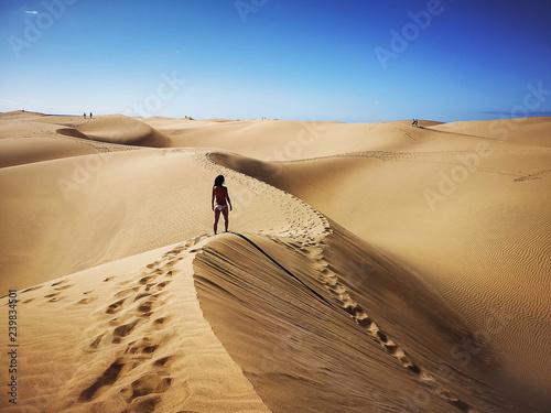 Leinwandbild Motiv Natural reserve of Dunes of Maspalomas in Gran Canaria, Spain