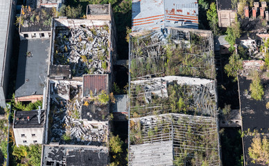 aerial view over the abandoned buildings © Mihails Ignats