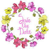 Vector Pink and yellow Orchid. Engraved ink art. Frame floral wreath. Save the Date handwriting monogram calligraphy. © LIGHTFIELD STUDIOS